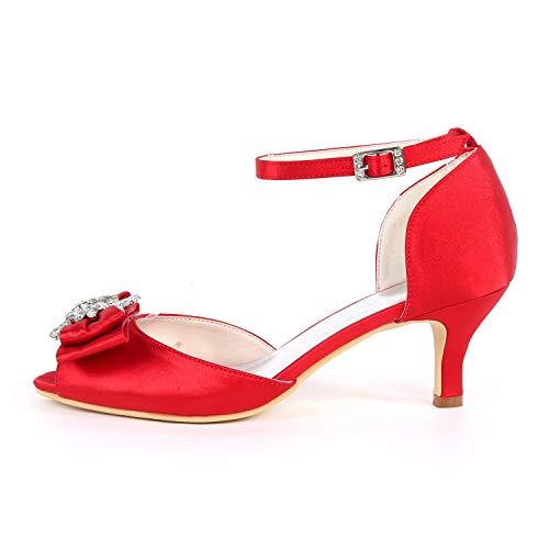 Kitten Buckle Heel Altos Tacones Cordón Boda Zapatos yc 35 L De 43 Satén Gray Peep Mujer Toe 6cm w6qO7Sn17a