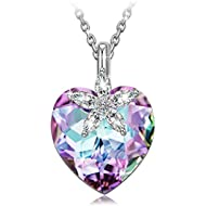 Bauhinia Blossom 925 Sterling Silver Heart Pendant Necklace Made with Swarovski Crystals, Buy One...