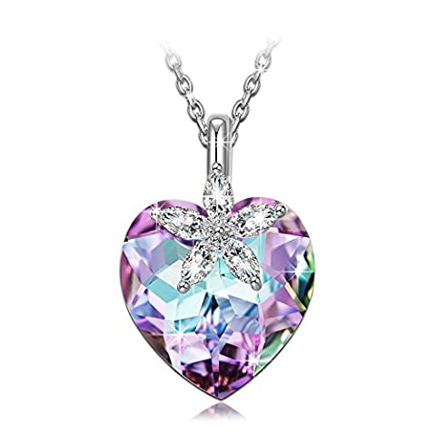 Gifts for Women NINASUN Bauhinia Blossom s925 Sterling Silver Pendant Necklace Love Heart Swarovski Crystal Jewelry for Women Graduation Gifts for Girls Birthday Anniversary Christmas Gifts for (Love Jewelry For Men)