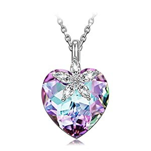 NINASUN Necklaces for Women Bauhinia Blossom Sterling Silver Heart Pendant Necklace Made with Swarovski Crystals Hypoallergenic Material with Gift Box