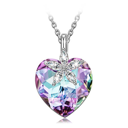 (NINASUN Women Necklace Heart Necklace for Women 925 Sterling Silver Pendant Swarovski Purple Crystals Fine Fashion Costume Jewelry Birthday Anniversary Gifts Her Lady Girls Girlfriend Wife Mum Mother)