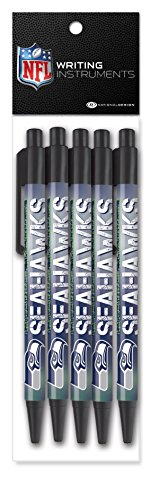 National Design NFL Seattle Seahawks Retractable Click Pen, 5 Pack -
