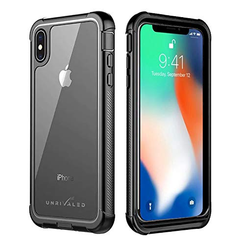 UNRIVALED iPhone Xs Max Cell Phone Case 360 Degree Protection Full-Body  Rugged Shockproof Case with Built-in Screen Protector for iPhone Xs  Max-Matte