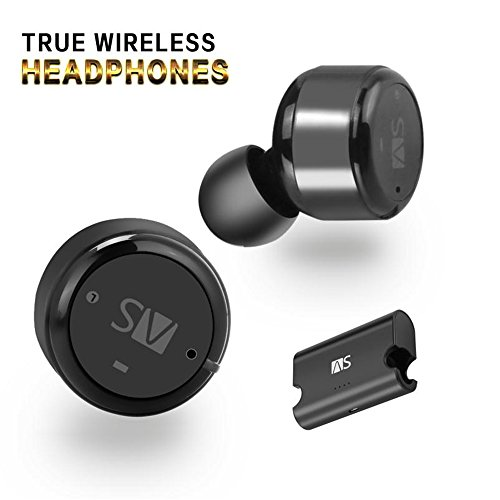 Dual Bud Stereo - AS X2T+ Wireless Bluetooth Earbuds Dual Stereo Earphones, In-ear Headset with Mic, Bluetooth Headphones One Cent Sized, Magnetic Charging Case and Small Bag Included (black)