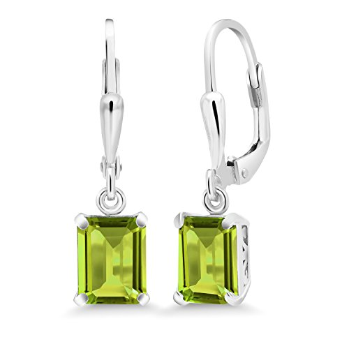 Gem Stone King Green Peridot 925 Sterling Silver Lever Back Earrings 3.30 Cttw Emerald Cut Gemstone Birthstone 8X6MM