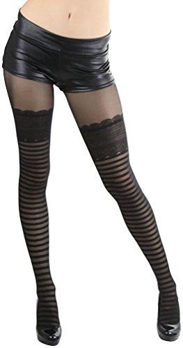 (ToBeInStyle Women's Striped Thigh Hi Look Spandex Pantyhose - Black)