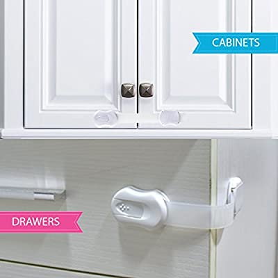 Adjustable Child Safety Locks - Latches to Baby Proof Cabinets, Drawers, Cupboards, Fridge, Oven, Toilet Seat [6 Pack+2 EXTRA] No Tools/Drilling & Easy to Install - Ideal Gift For Baby Showers - White