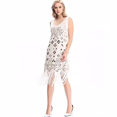 Wuchieal Women's 1920s Sequined Embellished Fringed Flapper Gatsby Dress