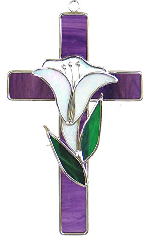 Stained Glass Cross with Lily - Purple Floral Glass Wall Art