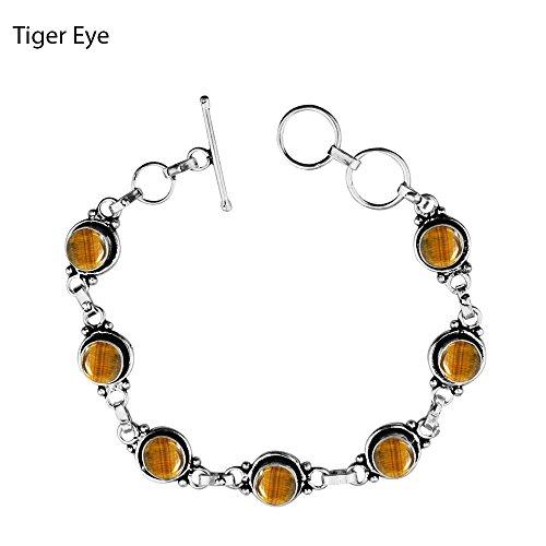12.50Gms,4.50 Ctw Genuine Tiger Eye 925 Sterling Silver Overlay Handmade Fashion Bracelet Jewelry