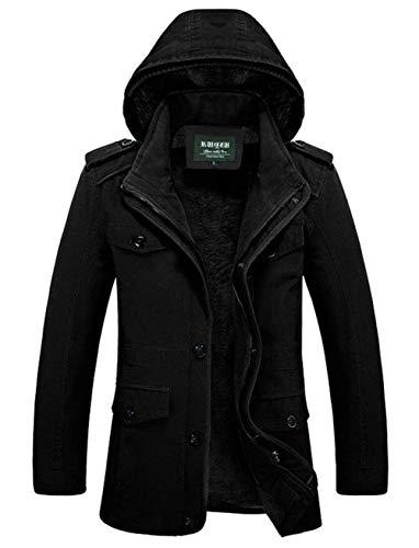 Schwarz Jacket Outerwear Coat Winterparka Warm Winter Outerwear Quilted Parka 08 Apparel Winter Jacket with Jacket Men's Coat Outwear Hooded qEFaTa1