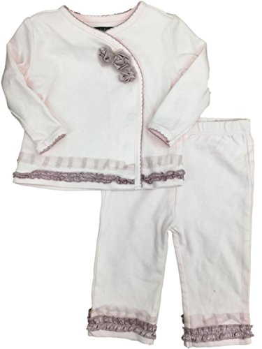 Wendy Bellissimo Infant Girls White & Pink Rose Ruffle Top & Legging with Ruffle 2 Piece -