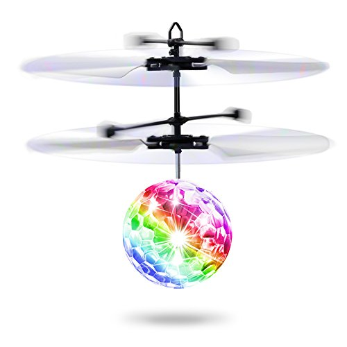 Flying Ball,Baztoy Kids Toys RC Flying Disco Ball Toy Helicopter Drone Infrared Induction with Built-in Flashing LED Light Gifts for Boys Girls Teenagers Indoor and Outdoor Games (Safety Balls Fun)
