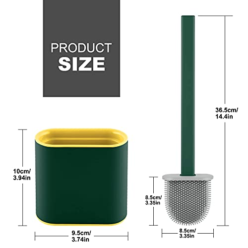 Onlyesh Silicone Toilet Brush with Holder, Wall Mounted Toilet Brush Set with Drain Pad & Extra Hook, Deep Cleaner Toilet Brushes with No-Slip Plastic Handle, for Bathroom Toilet (Green)