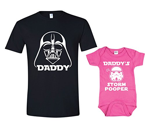 Texas Tees Inspired by Star Wars Shirt Set, Storm Pooper Tee for Girl,Darth & Storm Pooper - Black & Pink,Mens (X-Large) & 6-12 Month -