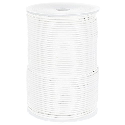25 Yards of Solid Round 2mm White Real and Genuine Leather Cord for use as Braiding String (2mm, White) ()