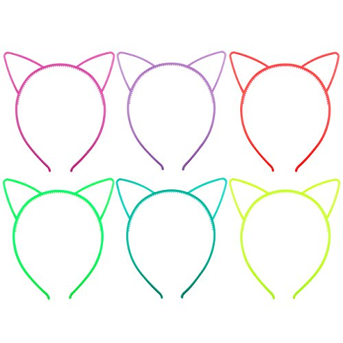 Candygirl Girl's Plastic Headbands Tiara Bunny Cat Bow Hairbands (GLOW IN (Glow Bunny Ears)