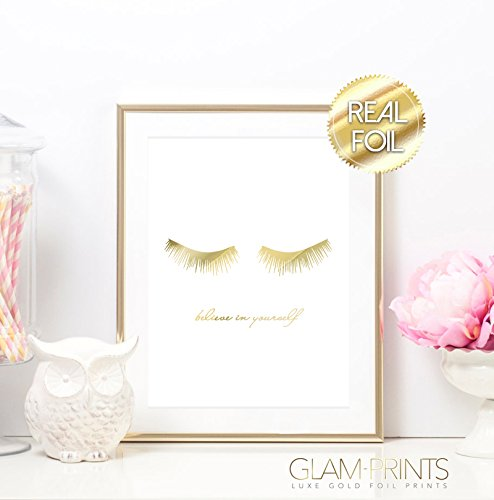 Lashes Eye Lash Believe In Yourself Gold Foil Art Print Designer Luxury Girly Home Decor Wall