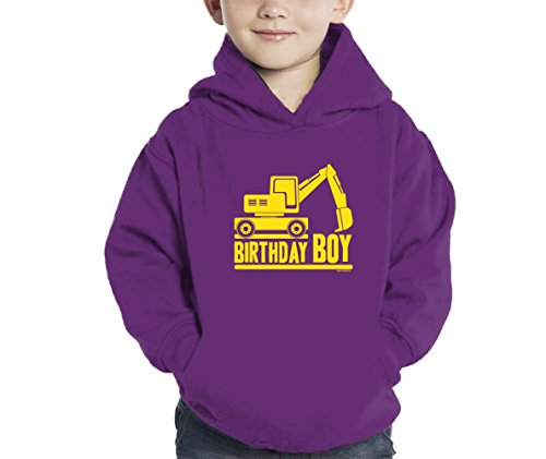 Toddler Little Boy Birthday Boy Tractor Hoodie Sweatshirt (5/6, Purple) (Swirl Jumper Set)
