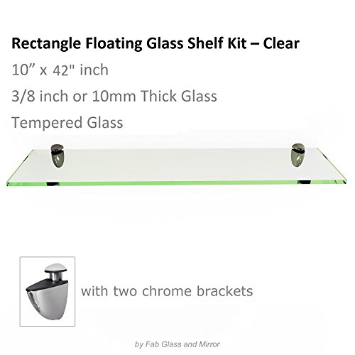 Cheap Fab Glass and Mirror Rectangle Floating Glass Shelf with Chrome Brackets, 10″ L x 42″ W