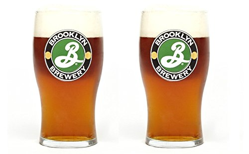 Brooklyn Brewery Classic Tulip 16 Ounce Pint Glass for Craft Beer Lovers - 2 Pack (2 Glasses) ()