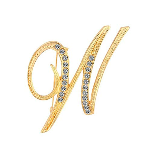 for Women Gift Charm Alphabet Letter A-Z Gold-Tone Initial Brooch Pin Accessory (Model - - Gold Tone Initial Pin Brooch