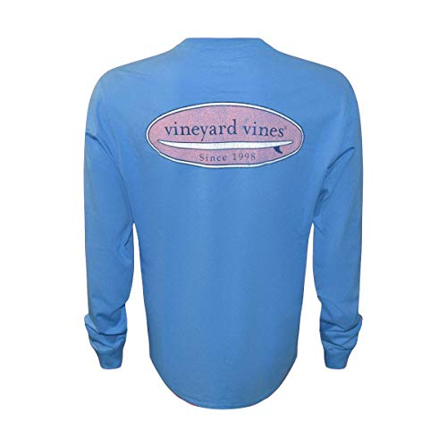 Vineyard Vines Men's Long-Sleeve Graphic Pocket T-Shirt (Hull Blue Surf Logo, Large)