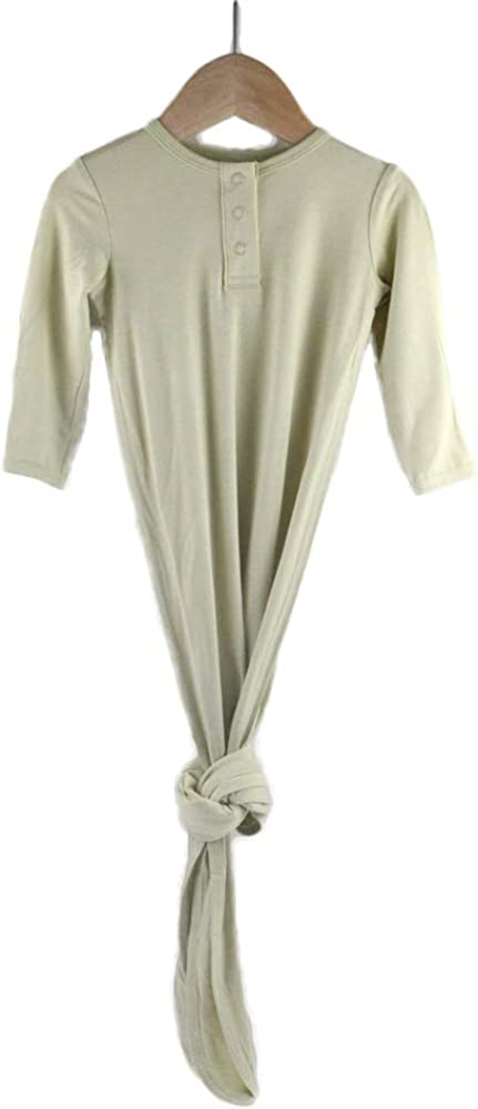 TWINOR Knotted Baby Gown Long Sleeve Baby Sleeping Bags Super Soft Bamboo Nightgowns (sage Green, 3-6M)