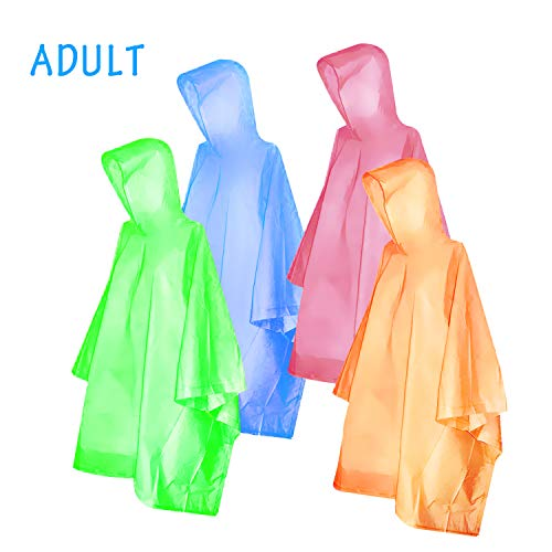 FishOaky Rain Poncho for adults & kids Disposable Rain Poncho Lightweight waterproof Raincoat for Men Women Plastic Clear Rain Gear for Outdoor Hiking Camping,4 Pack