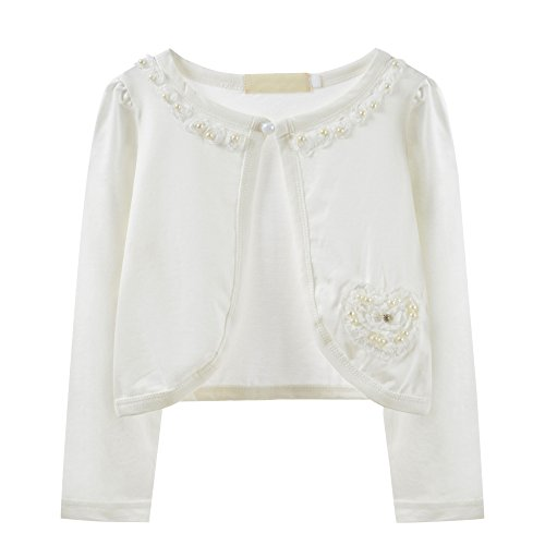 Girls Beaded Flower Knitted Bolero Sweater Shrug Casual Cardigan Jacket Dance Dress Cover Up (2-3 Years, Ivory (B))