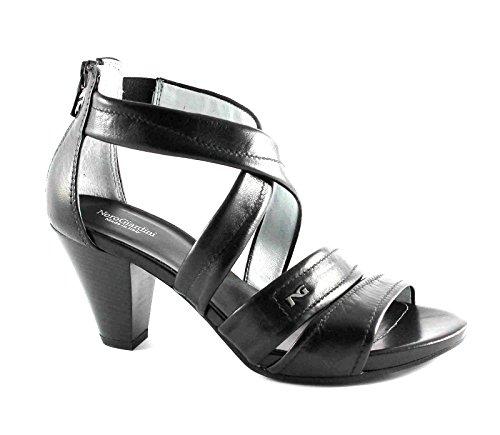 BLACK JARDINES 15551 mujeres negras sandalias de los zapatos de tacón de cuero con cremallera Nero