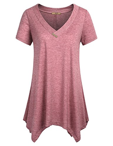 Miusey Long Tunic Shirts for Leggings, Womens Short Sleeve V Neck Summer Comfy Flattering Flowy Breathable Loose Fitting Top A Line Maternity Knit Soft Blouses with Button Red XL