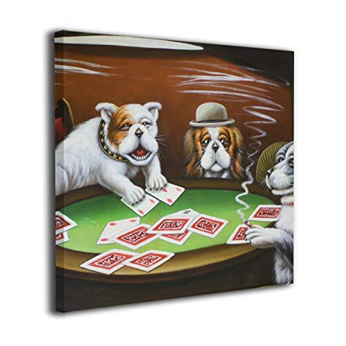 Anonymous Guest Square Frameless Painting Bulldog Playing Poker Kids Room Home Decor for Living Room Kitchen Ready to Hang