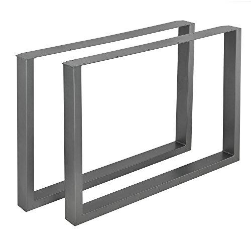 [en.casa] 2 x Conjunto de Patas de Mesa - Set de 2X Patas de Mesa - Metal - Patas de los Muebles - 100 x 72 cm - para Mesa de Comedor - Armazon de Mesa - con proteccion para Suelo - Gris metalico