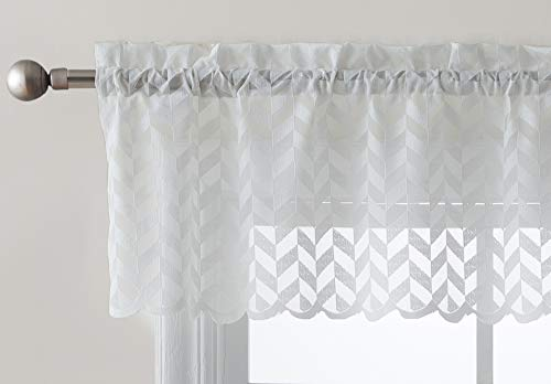 HLC.ME Herringbone Lace Sheer Kitchen Cafe Curtain Valance Panel - Rod Pocket - Valance for Small Windows, Bathroom & Kitchen - 50