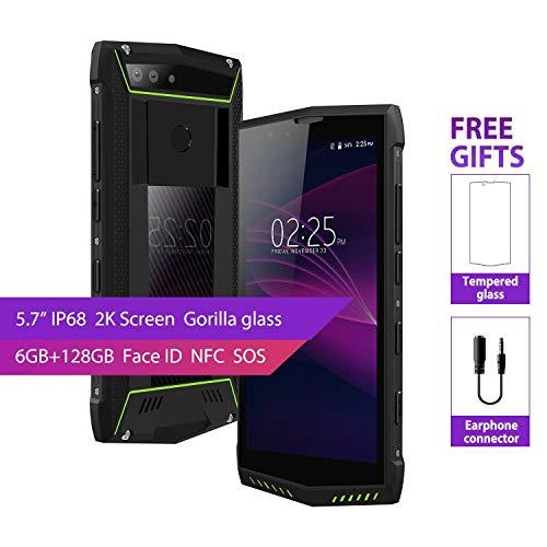 International Rugged Phone Unlocked,POPTEL P60 IP68 Waterproof Wireless Charge Face Id 4G Lte Full Netcom Dual Sim Smartphones 6GB/128GB Dual Ai Camera 5.7