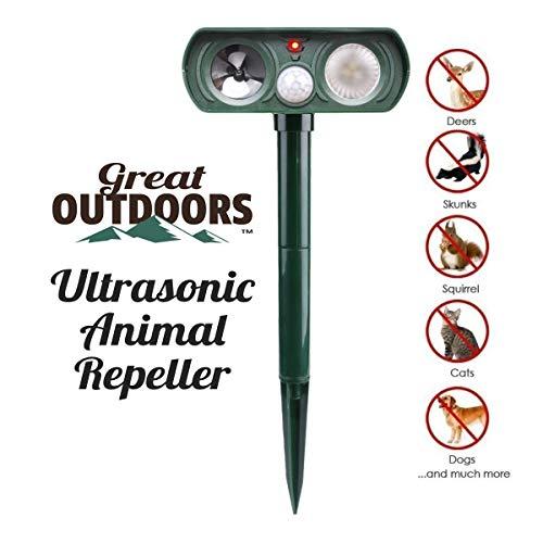GREAT OUTDOORS TM Ultrasonic Animal Repeller and Solar Pest Waterproof Repellent, Effective & Humane Outdoor Deterrent for Bird, Deer, Cat, Dog, Squirrel, Raccoon, Rabbit
