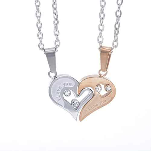 04c3dec325 UBBC 2pcs Matching Stainless Steel I Love You Heart Pendant Necklace Set  for Couple