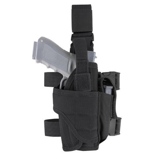 Leg Gun Holster (Drop Leg Holster Gear,Tactical Army Pistol Thigh Gun Holster, Magazine Pouches,Adjustable Right Hand for Man and Woman (Black))