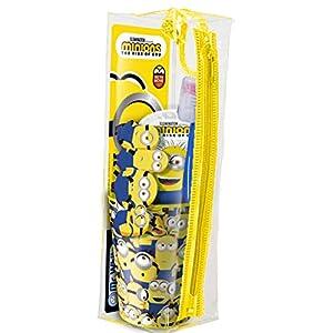 MR WHITE – MINIONS Kit viaggio/Set igiene dentale composto da: Spazzolino manuale con ventosa e cappuccio coprisetole…