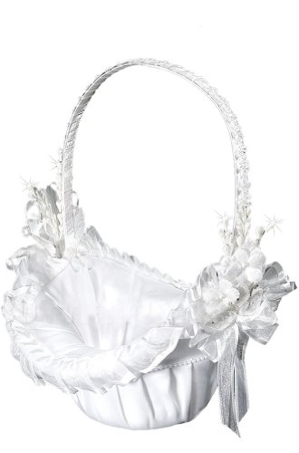 AMJ Dresses Inc White Bridal Wedding Flower Girl Basket ()
