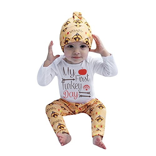 (Baby My 1st Thanskgiving Day Outfits 12-18Month Romper+Turkey Pant+Hat 3Pcs)