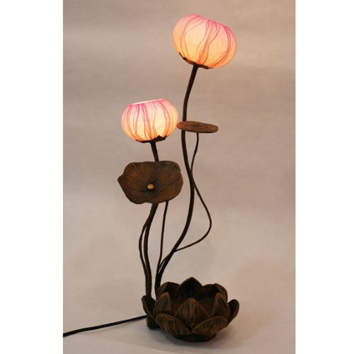 Ball Handmade Lotus Flower Design Art Shade Round Globe Lantern Brown Asian Oriental Decorative Bedside Accent Home Decor Bedroom Table Floor Uplight Lamp ()