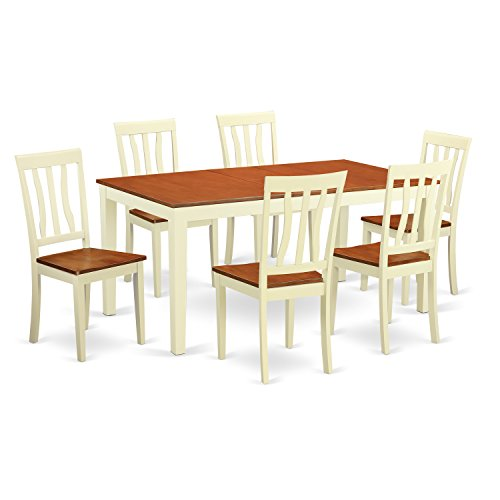 East West Furniture NIAN7-WHI-W 6 Piece Dining Table and 4 Solid Wood Chairs Plus One Bench Set