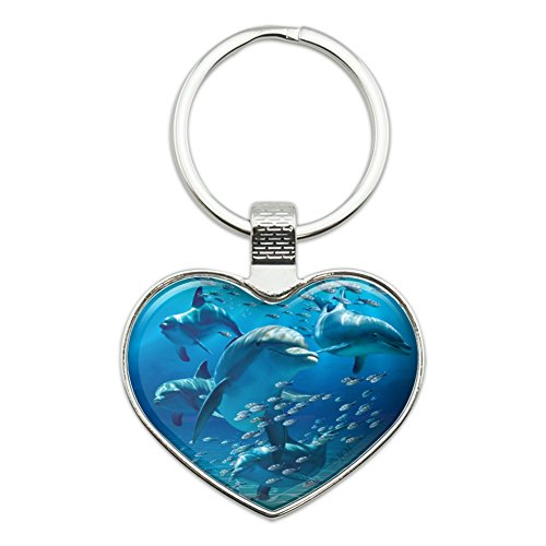 Dolphins Pod Underwater Diving Ocean Heart Love Metal Keychain Key Chain Ring