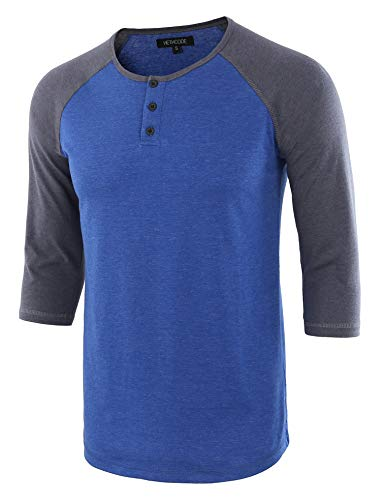 HETHCODE Men's Casual Raglan Fit Soft Baseball 3/4 Sleeve Henley T-Shirts Tee H.Blue/C.Blue XXL
