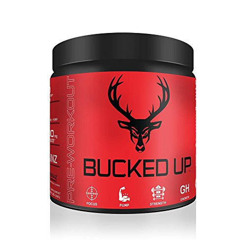 Bucked Up Pre Workout Blue Raz, 6G L-Citrulline, 3 Trademarked Ingredients, Best Tasting Preworkout