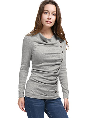 Allegra K Women's Cowl Neck Long Sleeves Buttons Decor Ruched Top Light Gray M (US 10) ()