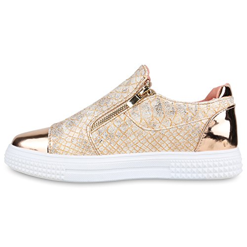 Stiefelparadies - Zapatillas Mujer Rose Gold