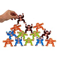 Party Propz Wooden Stacking Games Monkeys Interlock Toys Balancing Blocks Games Toddler Educational Toys for 3 4 5 6 Years Old Kids Infants Adults 16 Pieces